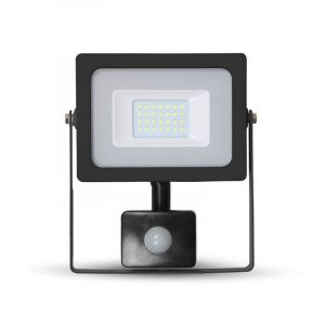 LED schijnwerper LENDO, zwart, Met bewegingsmelder - 3000K 20w