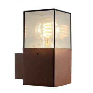 Roestkleur wandlamp Sanel, Smoke glas, IP44, rechthoekig