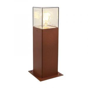 Roestkleur staande buitenlamp Sanel, Smoke glas, 30cm
