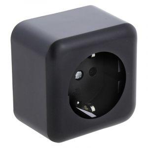 Q-Link opbouw contactdoos 1-voudig, met kinderbeveiliging en randaarde, zwart