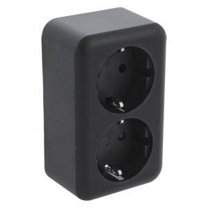 Q-Link opbouw contactdoos 2-voudig, met kinderbeveiliging en randaarde, zwart