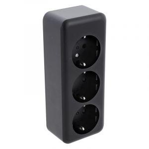 Q-Link opbouw contactdoos 3-voudig, met kinderbeveiliging en randaarde, zwart