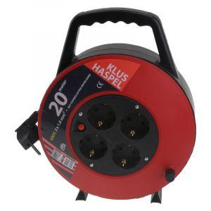 Q-link kabelbox, met randaarde, 20m zwart/rood