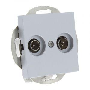 Q-Link S-Line Contactdoos Inbouw Radio/TV, Grijs/aluminium kleurig