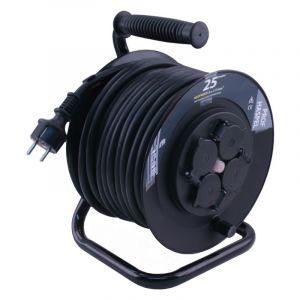 Q-Link kabelhaspel spatwaterdicht (IP44) 25 m zwart met randaarde