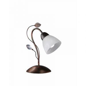 Roestkleurige tafellamp Ate, Metaal,Glas