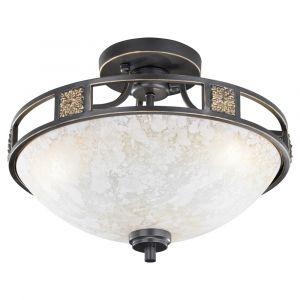 Lincoln plafondlamp, klassiek design, metaal en glas