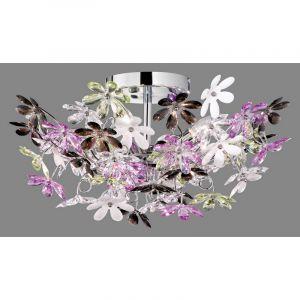 Wooler plafondlamp, bloemen, vrolijke kleuren