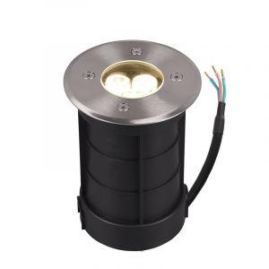 Nikkel grondspot Jabari, metaal, modern, 3 watt, rond