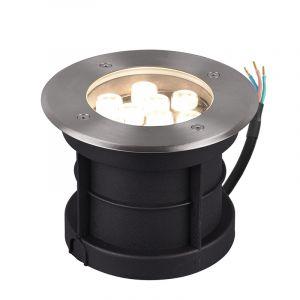 Nikkel grondspot Jabari, metaal, modern, 9 watt, rond