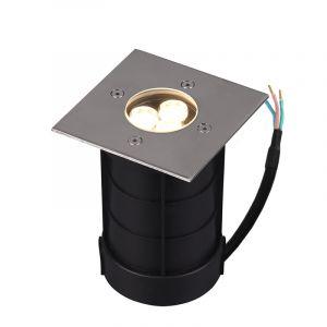 Nikkel grondspot Jabari, metaal, modern, 3 watt, vierkant