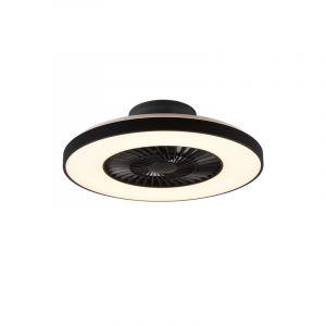 Moderne plafondventilator met lamp Maurits, zwart, kunststof, met verstelbare lichtkleur