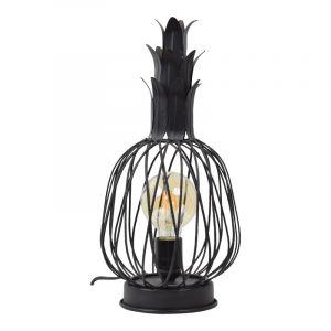 Industriële tafellamp Keri, zwart, rechthoekig