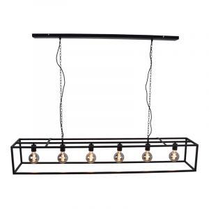 Industriële hanglamp Redox, zwart, langwerpig
