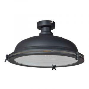 Grote, industriële plafondlamp Liga, Mat zwart