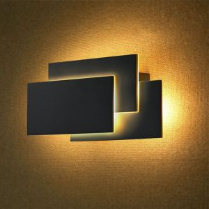 Zwarte moderne up down wandlamp, Keo, aluminium, 12w 3000K (warm wit) LED.