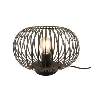 Zwarte tafellamp met aan/uit schakelaar Lieve 30 cm, Rond