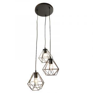 Zwarte ronde 3L hanglamp Jochem diamant vorm, klein
