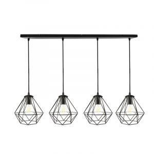 Zwarte langwerpige 4L hanglamp Jochem diamant vorm, klein
