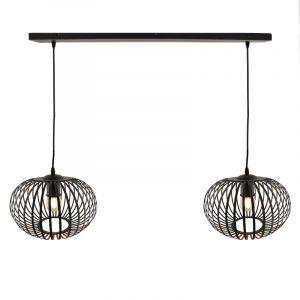 Zwarte hanglamp Lieve, met 2 kappen van 30cm