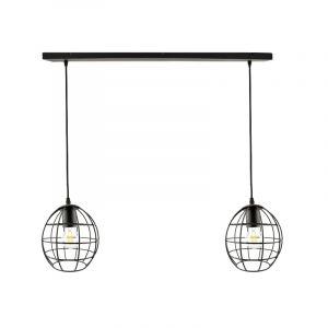 Zwarte hanglamp Jochem met 2 kleine ronde kappen