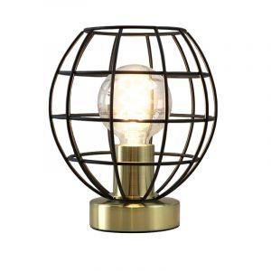 Industriële zwart met gouden tafellamp met aan/uit schakelaar Jochem Bolvormig