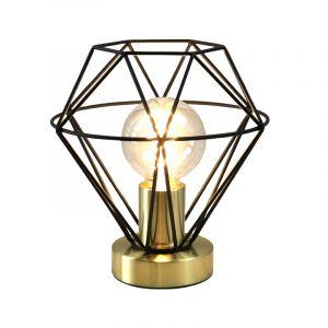 Stoere, zwart met gouden industrie tafellamp met aan/uit schakelaar Jochem klein