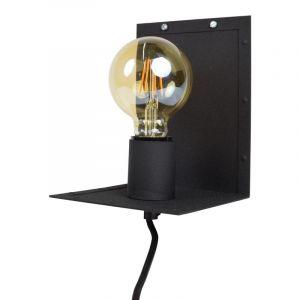 Zwarte, industriële wandlamp Ferial