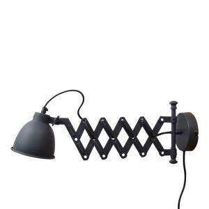 Harmonica wandlamp Borani, Uitrekbaar, vintage zwart