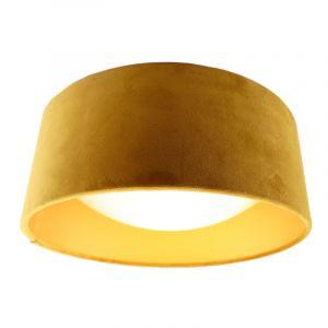 Okergele velours plafondlamp met gouden binnenzijde