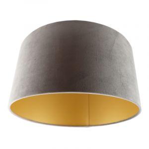 Grijs/gouden velours lampenkap Milene, 40 cm
