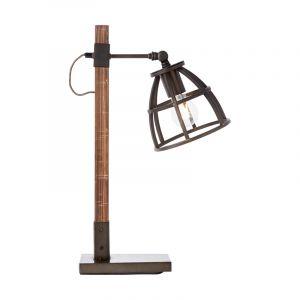 Industriële Tafellamp Amy, zwart, hout, met schakelaar