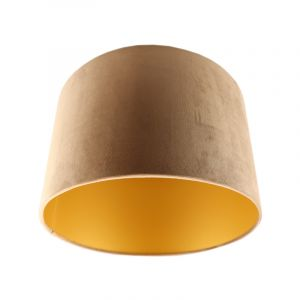 Taupe/gouden velours lampenkap Madelyn, 30 cm