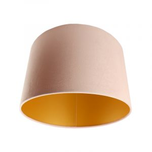 Lichtroze/gouden velours lampenkap Madelyn, 30 cm