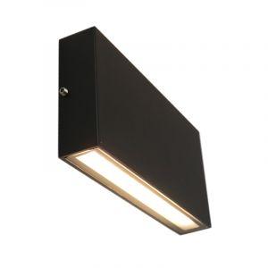 Zwarte up/down buitenlamp Cailey, met geïntegreerd LED, groot, rechthoekig