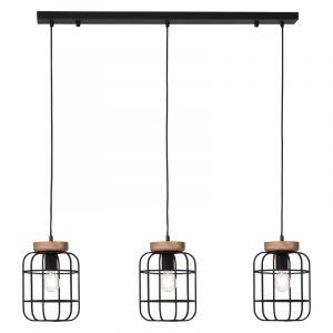 Industriële Hanglamp Taede, Zwart, hout