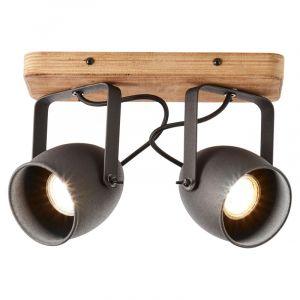 Industriële Plafondspot Vidar, Zwart, hout