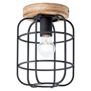 Industriële Plafondlamp Taede, Zwart, hout