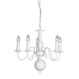 Glanzend wit kroonluchter Quincy, 5-lichts