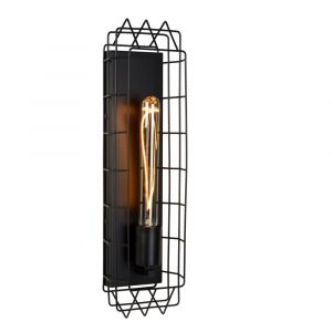 Zwarte wandlamp Lattice, staal