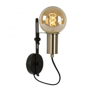Zwarte wandlamp Malcolm, staal