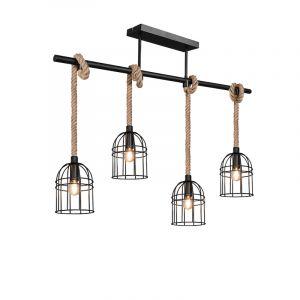 Moderne hanglamp Wodan, 4L, zwart