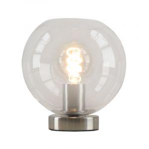 Stalen Design tafellamp Hatice met transparante glazen bol