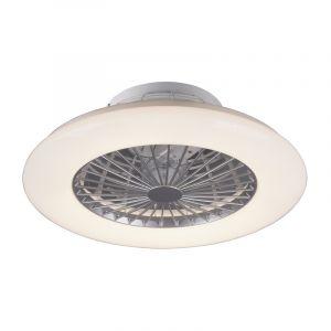 Grijze plafondventilator met lamp, Damyan, inclusief afstandsbediening