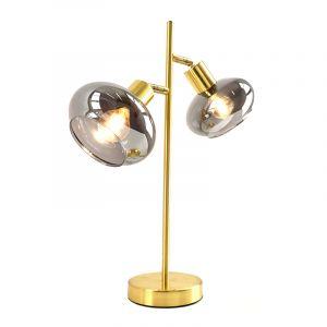 Design tafellamp Skip, goud met amber kleurig glas, Rond, 3L