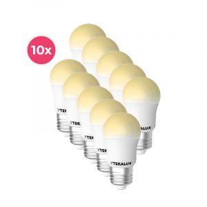 10-pack Tekalux Horan E27 LED kogellamp warm wit, 4w
