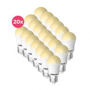 20-pack Tekalux Horan E27 LED kogellamp warm wit, 4w