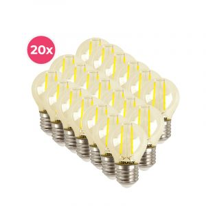 20-pack dimbare Tekalux Melchis E27 LED kogel, 4w warm wit