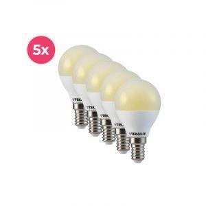 5-pack Tekalux Lasco E14 LED kogellamp warm wit, 3,4w