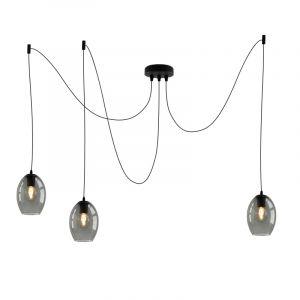 Design plafondlamp Penny met 3 rookglas ovale kappen